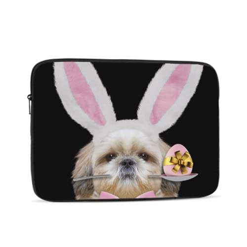 Mac Laptop Cover Cute Shitzu Dog Rabbit Ears Easter MacBook Air Computer Case Multi-Color & Size Choices 10/12/13/15/17 Inch Computer Tablet Briefcase Carrying Bag