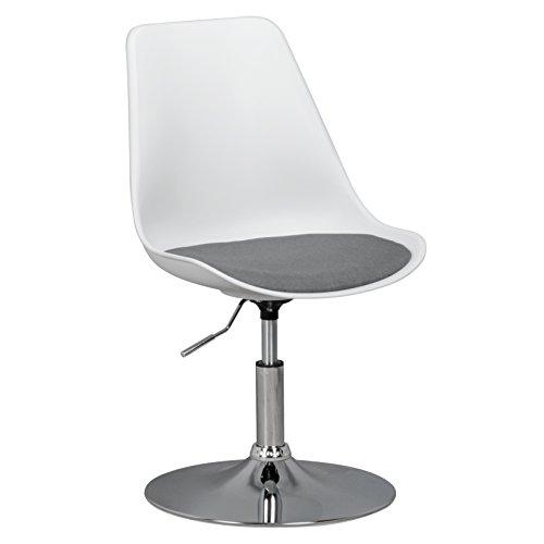Amstyle Korsika, Drehsessel Esszimmerstuhl Stoff-Sitzfläche, Drehstuhl ist höhenverstellbar, Drehhocker mit Rückenlehne, Besucherstuhl mit Schalensitz, Wartezimmerstuhl ohne Armlehnen weiß/grau