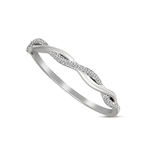 Anillos de diamantes naturales 1/50 quilates solitario anillo para mujer oro blanco de 9 quilates GH-I2 calidad diamante anillos para mujer anillos de diamantes reales (regalos de joyería para ella)