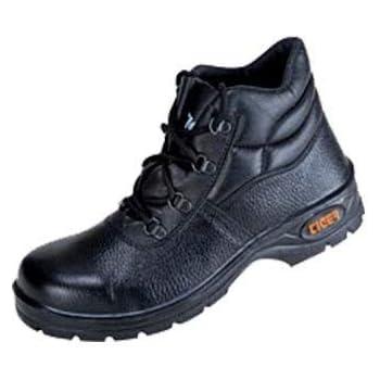 Tiger Men's High Ankle Leopard Steel Toe Safety Shoes (Size 9 UK, Black, Leather )