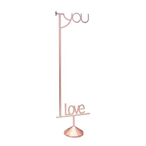 Perchero La creatividad nórdica TE AMO Escudo estante del metal dormitorio decorativos de la capa soporte de almacenamiento en rack Percha for la ropa sombrero bolsa Perchero de ( Color : Rose gold )