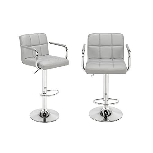 Taburete de Bar 2 Piezas Silla de Bar sillas de Cocina con Respaldo reposapiés apoyabrazos Taburete de Metal para Bar Cocina Comedor y Sala de Estar Gris