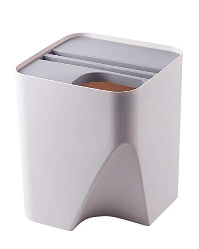WXX 9L Sorting Trash Can, stapelbare Doppel-Barrel Abfalleimer mit Deckel Haushalt Wohnzimmer Küche Nass- und Trocken Trennung Trash Can,Weiß