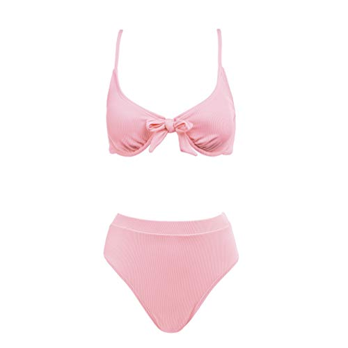 ASBAYSON Women's Bowknot Underwire Bra High Waist Bikini Set Swimwear, Bikinis Swimsuit for Women (Orange, L)