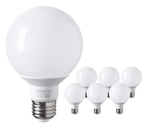 TORCHSTAR G25 Globe LED Bulb, Vanity Light, 5W (40W Eqv.), UL-Listed, Soft White 2700K for Makeup Mirror, Pendant, Bathroom, Dressing Room, 3-Year Warranty, Pack of 6