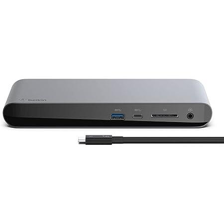 Belkin ドッキングステーション ハブ USB-C Thunderbolt3 Macbook Pro 2020 / Air iPad Pro / M1 iPad Pro / M1 iMac 5Kディスプレイ対応 0.8mケーブル付 F4U097JA-A