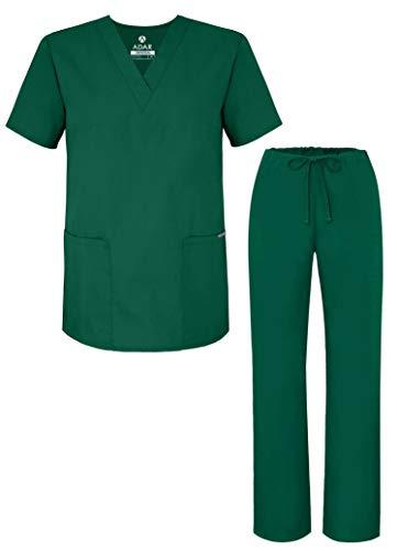 Adar Universal Divise sanitarie Unisex - Divise ospedaliere con Cordoncino - 701 - Hunter Green - S