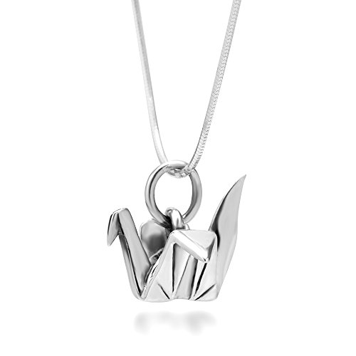 Chuvora 925 Sterling Silver Origami Bird Paper Crane Flapping Bird Pendant Necklace, 18 inches