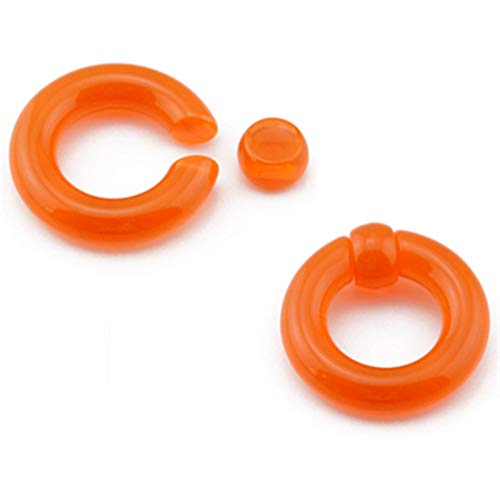 DYKJK Ear Gauges Expander 1Pair Acrylic Big Size Giant Captive Bead Ring Ear Tunnel Plug Expander Male Nose Ring Piercing Body Jewelry for Men Women (Main Stone Color : 3mm(8g), Metal color : Orange)