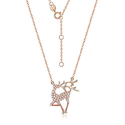 Oro Rosa De 18 Kilates con Zirconia 5a Collar, Collar De Cabeza De Ciervo Ajustable Mujeres Joyería Regalos