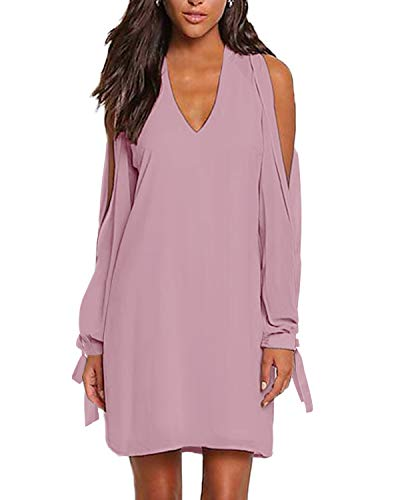 YOINS Damen Kleider Sexy Schulterfrei Tshirt Kleid Sommerkleid für Damen V-Ausschnitt Lang Tunika Brautkleid mit Bowknot Ärmeln Rosa S