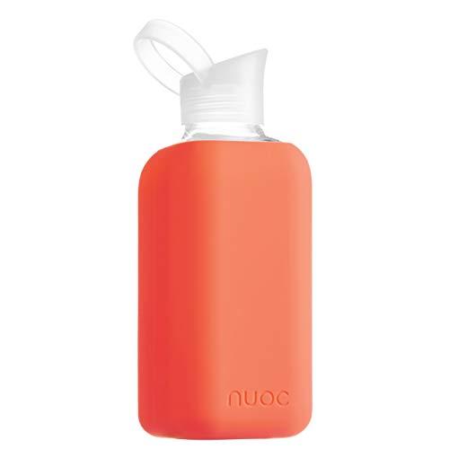 NUOC - Botella de agua cristal | 800 ml. | Rosa Fluor | Botella de Agua Reutilizable | Botella de Cristal | Funda de Silicona | Bebidas Frías y Calientes | sin BPA | Ecológica | Deporte, Oficina