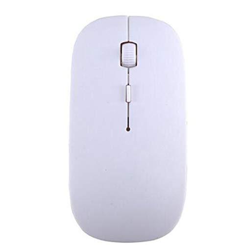 Ratón inalámbrico - Ratón inalámbrico óptico Ultra Delgado USB 2.4G Receptor Ratón Delgado Super Candy Color para computadora de Escritorio PC portátil - Blanco