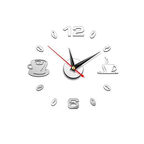 Frecoccialo Reloj de Pared DIY Grande 3D Espejo Pegatina decoración del hogar Reloj Pared Grano de café sin Marco Ideal para Casa Restaurante Cafetería Hotel (Silver, OneSize)