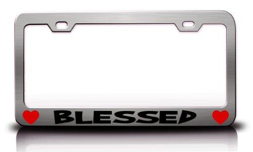 BLESSED Religious Christian Jesus Steel License Plate Frame Tag Holder Chrome