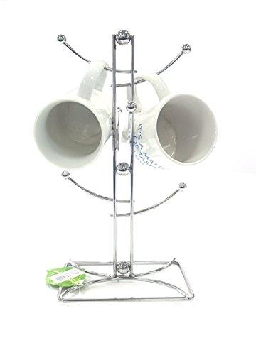 Stilvoller Ständer für 6 Tassen oder Becher, verchromter Draht für Zuhause, Bar oder Restaurant