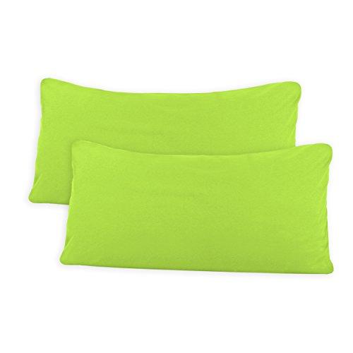 SHC Textilien Conjunto de Dos Fundas de Almohada, Funda de Almohada, Fundas 100% algodón con Cremallera - 15 Colores y 5 tamaños 40x80 cm Verde Manzana/Verde Claro