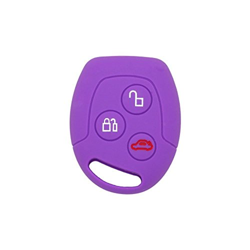 E-Senior Fashion Siliconen Afstandsbediening Flip Key FOB/Siliconen Hoesje Cover / 3 Knop Zachte Rubber Flip Key Shell Case/Siliconen Cover Huidjack geschikt voor FORD 3 Button CV9702 Paars