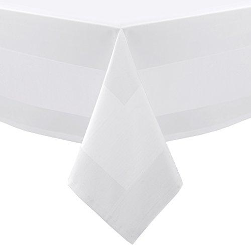 BEAUTEX Gastronomie Hotel Tischdecke Servietten Tischläufer, Vollzwirn Baumwolle Atlaskante, Weiß Größe wählbar (Tischdecke Rund 120 cm)