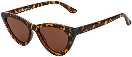 La Optica B.L.M. UV400 CAT 3 CE Damen Sonnenbrille Cateye Katzenaugen - Tortoise Leopard (Gläser: Braun)_LO25 B-Brown