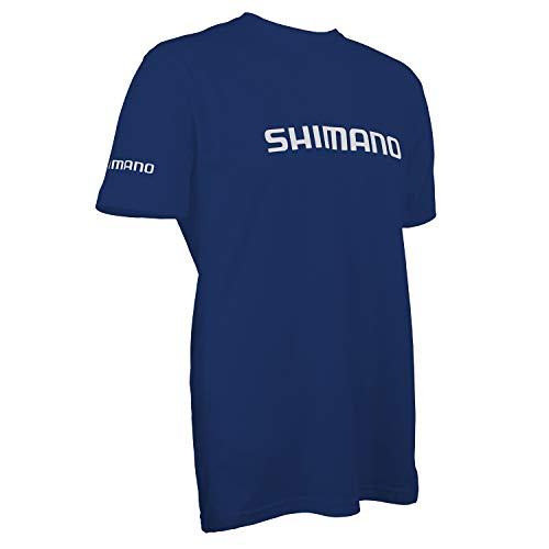 SHIMANO Short Sleeve Cotton Tee Fishing Gear, Royal Blue, Medium