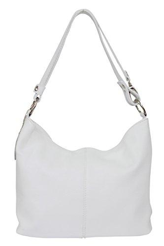 AMBRA Moda Hobo bag GL005 - Bolso de mujer de cuero, bolso de mano y bandolera, color Blanco, talla Medium