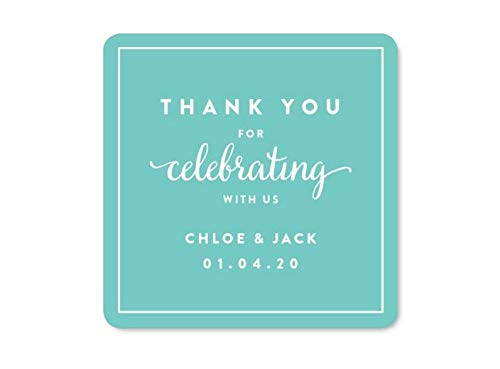 Andaz Press Personalized Square Labels, Wedding, Thank You for Celebrating With Us, 40-Pack - Custom Made Any Name, For Baby Bridal Wedding Shower, Anniversary Celebration, Graduation, Outdoor Event, Picnic, Luau, Christmas Hanukkah Holiday Party, Sweet 16 Quinceanera Birthday, Kids Birthday Party, Baptism, Christening, Confirmation, Communion Party Favors, Gifts, Boxes, Bags, Treats and Presents