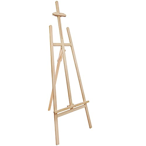Belle Vous Wooden A-Frame Studio Easel - 1.59m / 5.22ft - Artist Easel - Adjustable/Foldable Tripod - Canvas/Painting Holder for Displays, Exhibition, Drawing, Sketching, Weddings, Arts and Craft