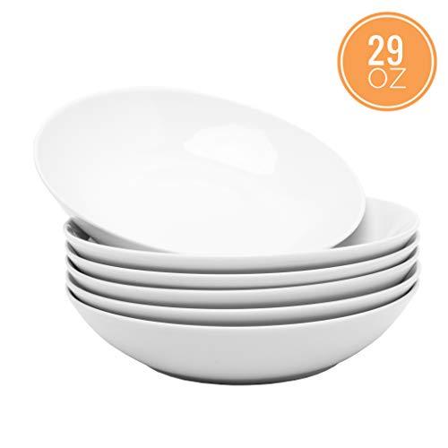 Porcasa Porcelain White Salad Bowls Set, 8 Inch, 29 Ounce, 6-Piece