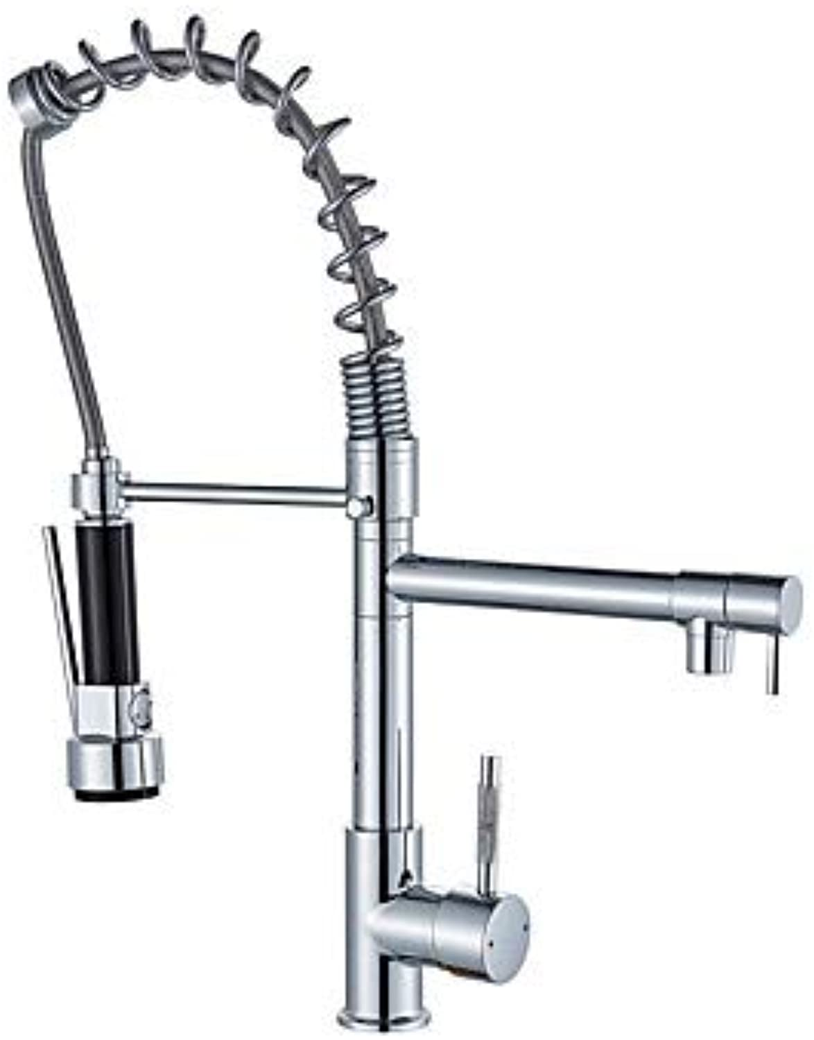 Kitchen Faucet - Single Handle One Hole Chrome Pull-Out, -Pull-Down Deck Mounted Contemporary Kitchen Taps