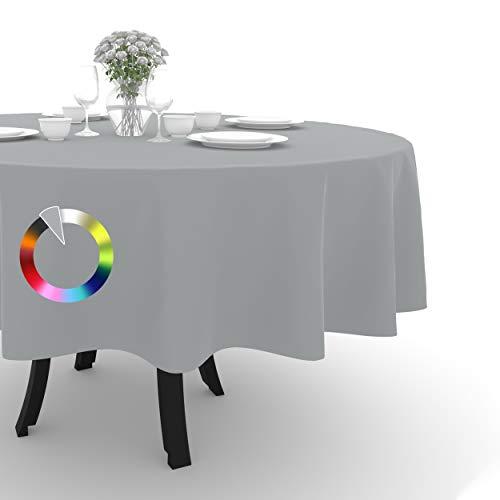 Rollmayer Tischdecke Tischtuch Tischläufer Tischwäsche Gastronomie Kollektion Vivid Uni einfarbig pflegeleicht waschbar (Silbergrau 31, Rund Ø 140cm)