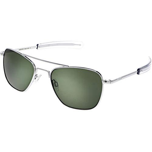 Randolph Engineering quadratische Piloten Sonnenbrillen in verchromt Agx grün AF076 55 AGX Green Silver