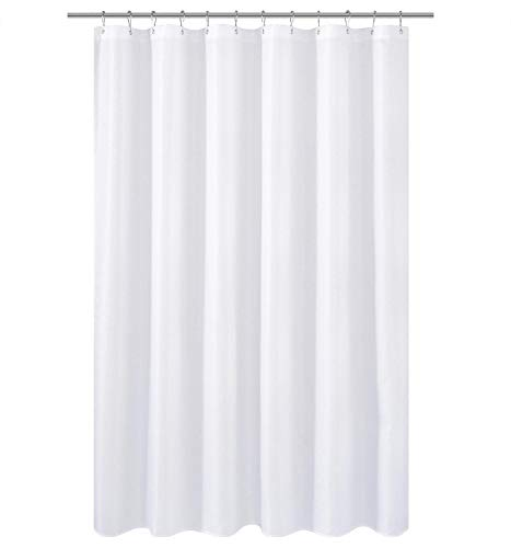 N&Y HOME Longer Fabric Shower Curtain Liner or Shower Curtain 75 inches Height, Hotel Quality, Washable, Water Repellent, Diamond Patterned White Bathroom Curtains with Grommets
