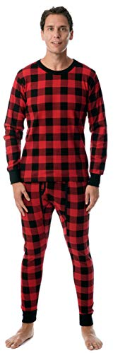 At The Buzzer Mens Printed Thermal Set 95966, Buffalo Plaid Red Black, X-Large