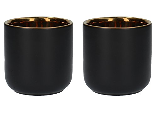 La Cafetière Edited Wärmeisolierte Espressotassen aus Keramik, 70 ml – Mattschwarz/Gold (2er-Set)