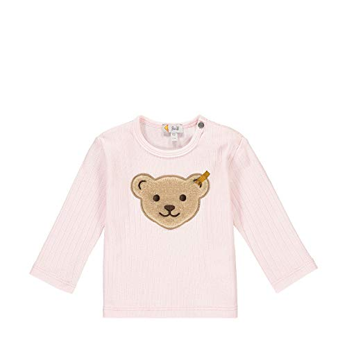 Steiff Baby-Mädchen mit süßer Teddybärapplikation T-Shirt Langarm, Rosa (Barely Pink 2560), 068