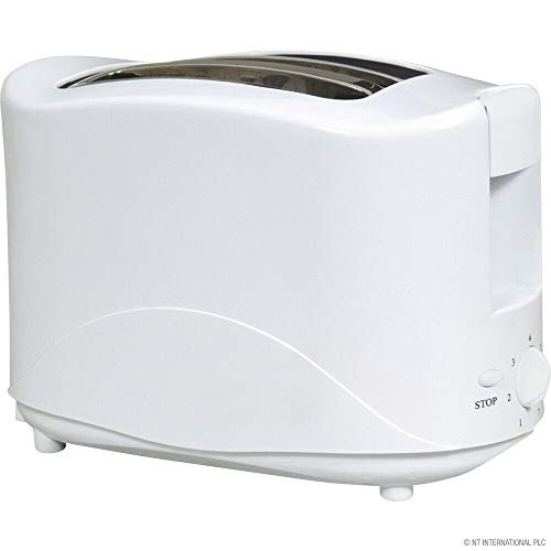 New White 750w 2 Slice Toaster Tostie Maker Pop Up Cool Touch 7 Settings Bagel