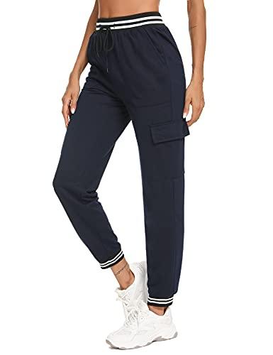 Wayleb Activewear Damen Hosen für Damen High Waist Taschen Dehnbare hohe Kordelzug Azul Marino,M