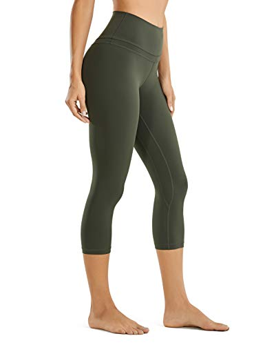 CRZ YOGA Damen Yoga Capri Leggings Sport Hose mit Hoher Taille-Nackte Empfindung -48cm Dunkle Olive 19'' - R418 36