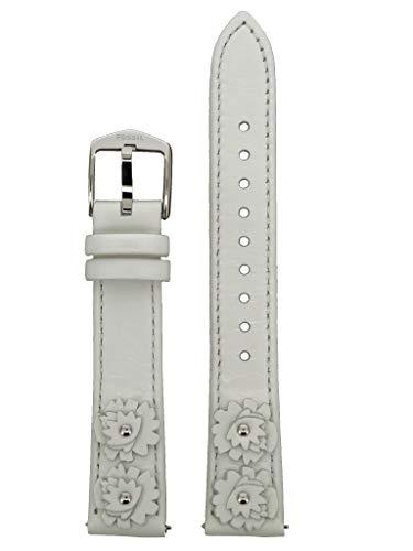 Correa de repuesto original LB-ES4383SET para reloj de pulsera Fossil ES-4383SET de cuero 16 mm blanco