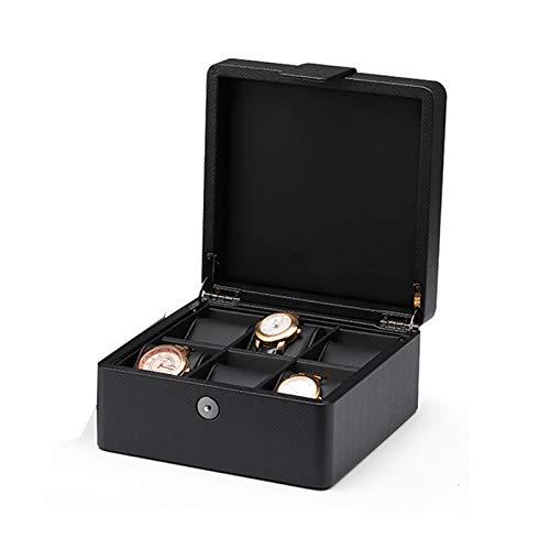 GYMEIJYG Caja De Almacenamiento De Reloj PU 6 Ranuras Cierre De Metal Caja De Almacenamiento De Exhibición De Joyería para Guardar Relojes Personalizar Regalo para Hombres Mujeres