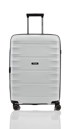 """TITAN Super Leichter Hartschalenkoffer """"Highlight"""" in 4 Größen im Carbon Look, Handgepäck mit Vortasche Koffer, 67 cm, 73 Liter, Off-White"""
