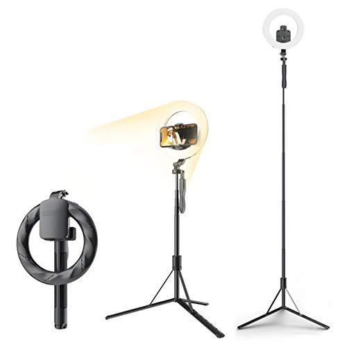 Selfie Stick con anillo de luz, trípode multifuncional para selfies con soporte para teléfono LED, luz de relleno Bluetooth, control remoto regulable, 3 colores para YouTube TikTok Videos en vivo