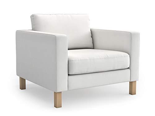 mastersofcovers - Funda para sillón IKEA Karlstad (algodón, Ajuste Perfecto), Blanco