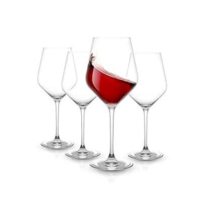 JoyJolt Layla Red Wine Glasses, Set of 4 Italian Wine Glasses, 17 oz Clear Wine Glasses