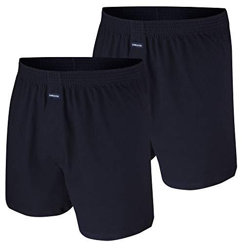 Ammann Boxer Shorts mit Eingriff, 2 Stück, schwarz, Navy, weiß, grau Melange (6, Navy)