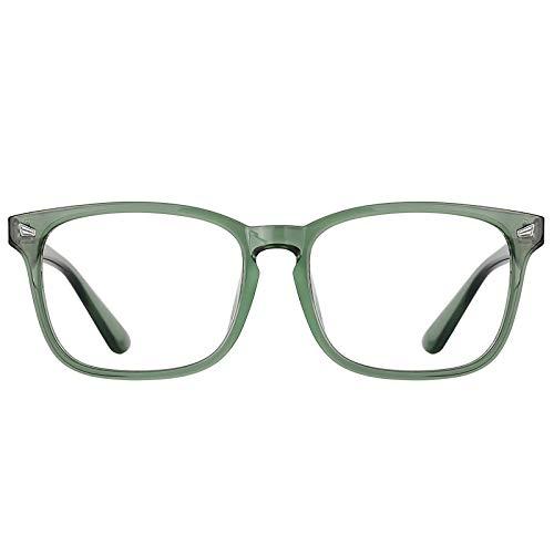 TIJN Blue Light Blocking Glasses for Women Men Clear Frame Square Nerd Eyeglasses Anti Blue Ray Computer Screen Glasses ((15)blackish green)