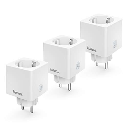 Hama WLAN Steckdose Advanced 3er Pack, Mini Plug, (smarte Steckdose ohne Hub, WiFi Steckdose für Sprach- u. App-Steuerung, für z.B. Heimkino, Stehlampe, Ventilator, 3680W, 16A) weiß