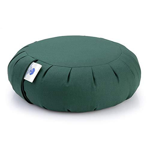 Blue Banyan Zafu Meditation Cushion (Organic Buckwheat) UK Made. Forest Green