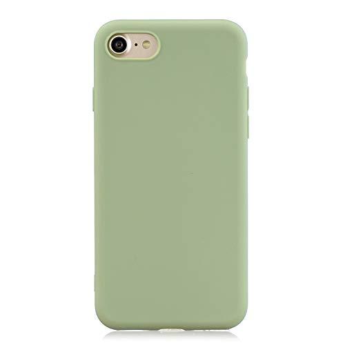Everainy Compatibel voor iPhone 7/iPhone 8 Silicone Geval Hoes Ultra slank Zaak Ultradun Hoesje Rubber Stootvast Bumper Schokbestendig TPU Gel Case Cover (groen)